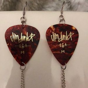 Cute Custom Made Jim Dunlop Guitar Pick Earrings